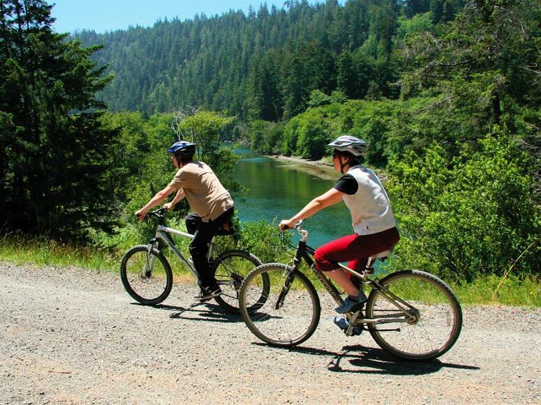 2 bikes following a bike trail near Heritage House Resort