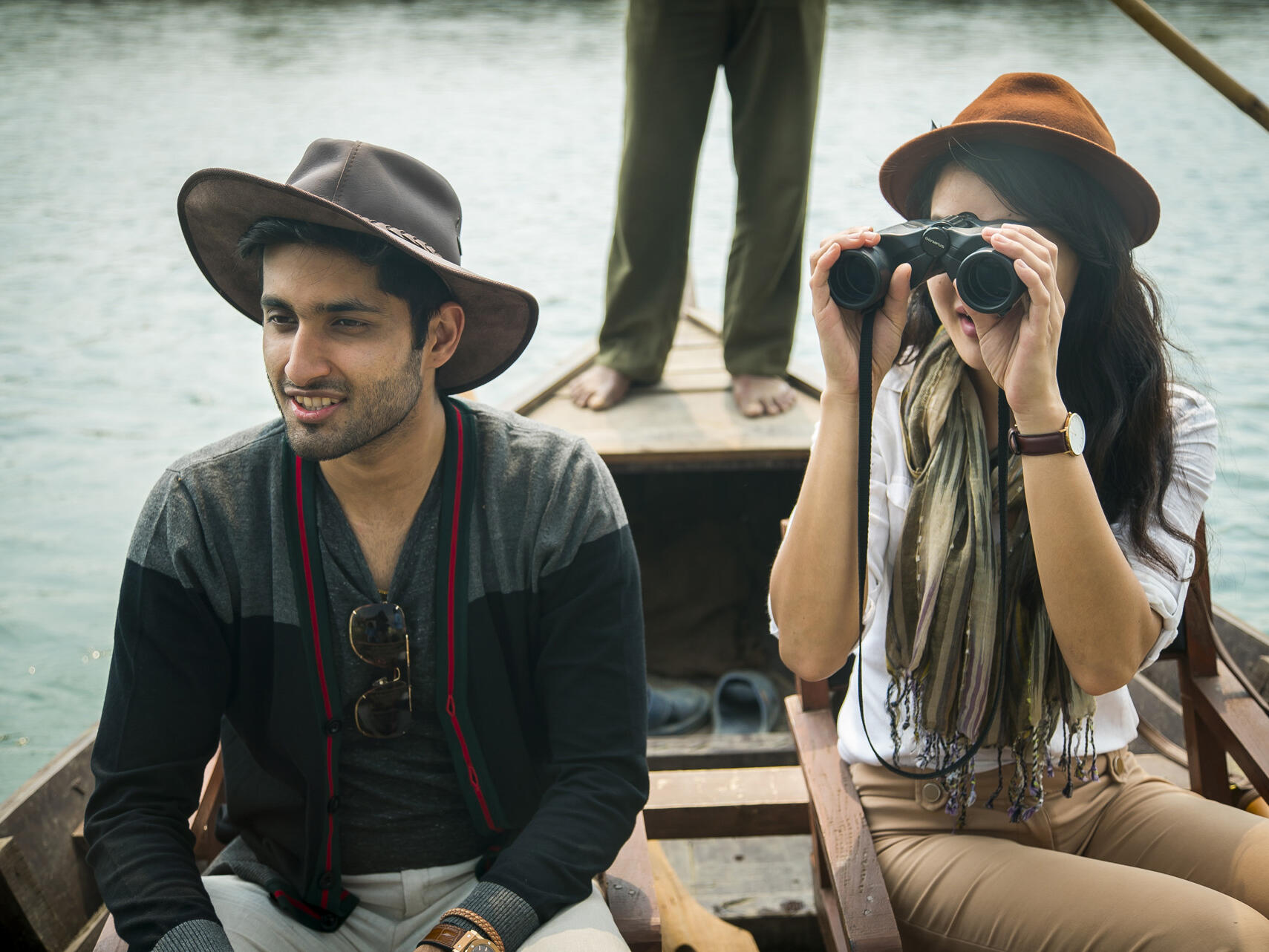 Men  enjoying Boat Safari near  Meghauli Serai