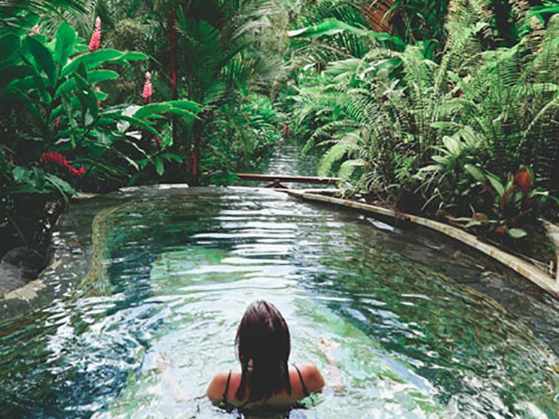 woman swimming in small pool
