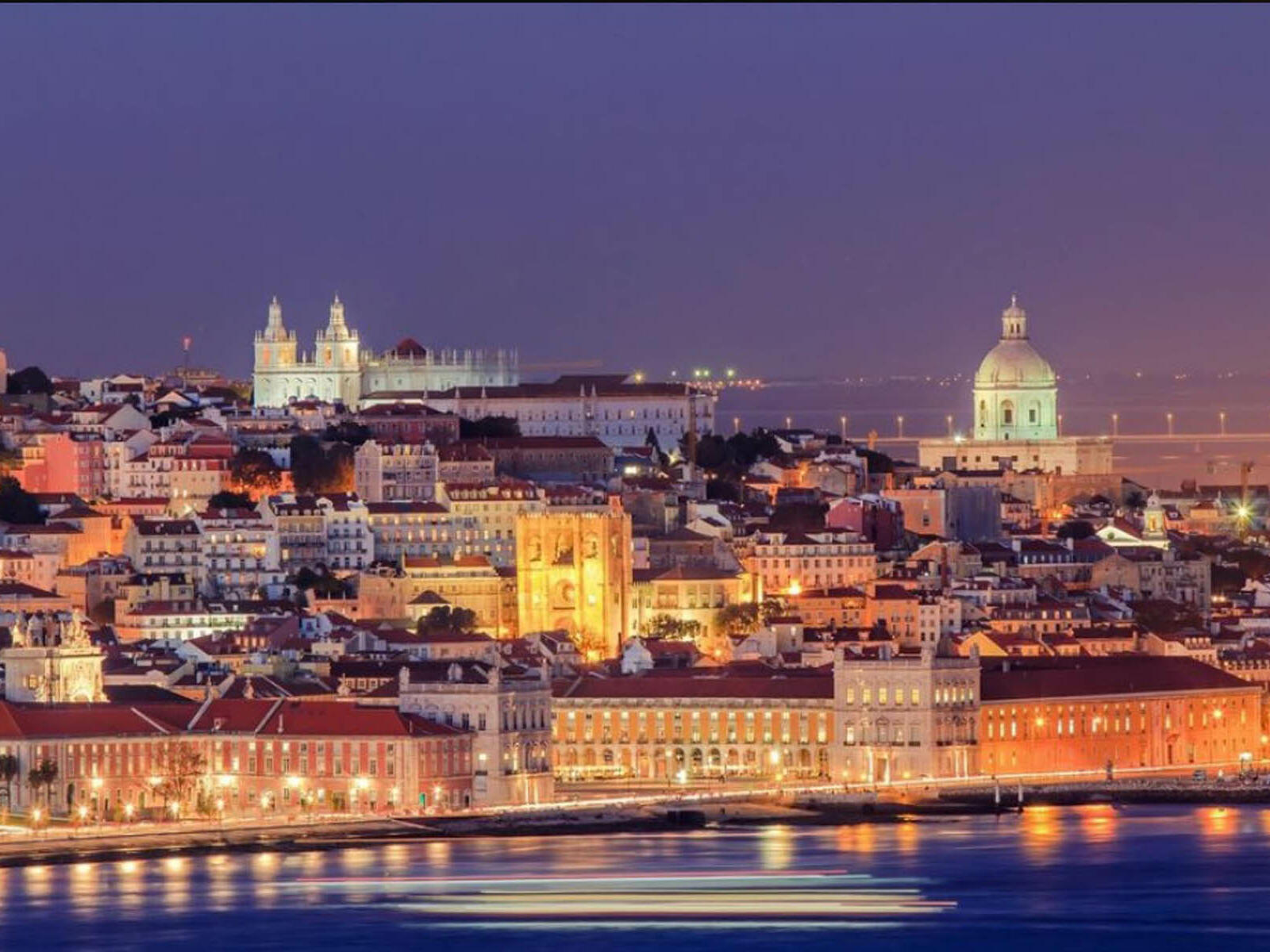 View of Lisbon at night from Hotel Cascais Miragem