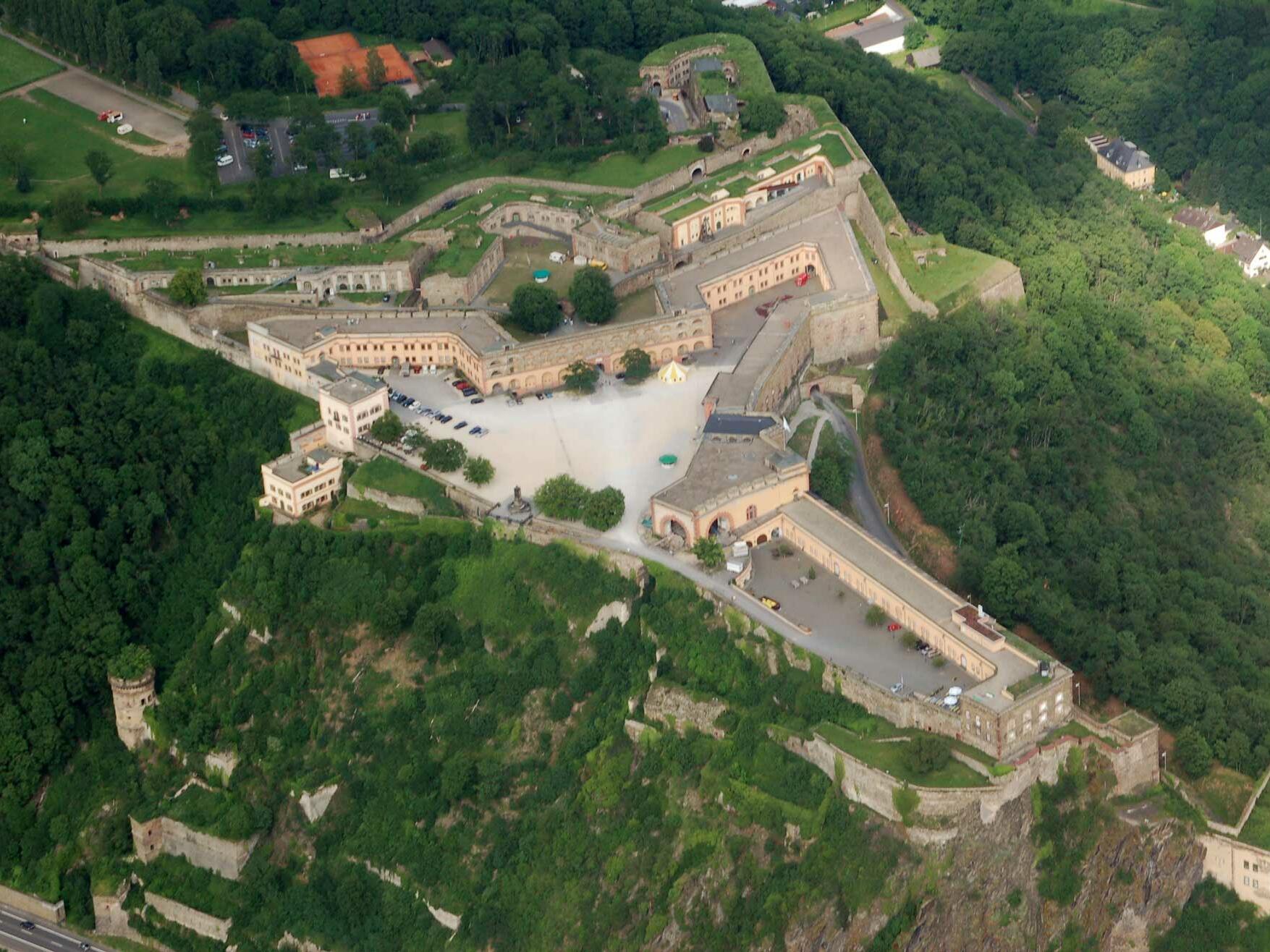 Ehrenbreitstein Fortress near hotel Am Martinsberg
