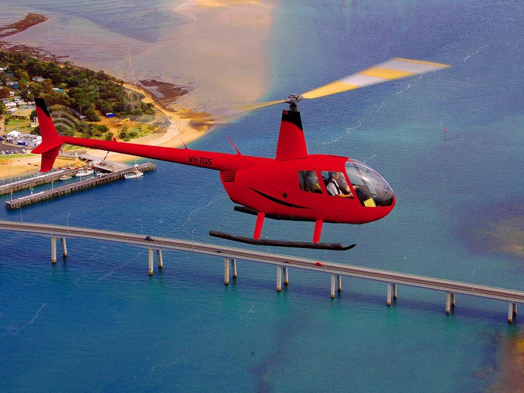 Helicopter in air at Island Helicopters at Silverwater Resort
