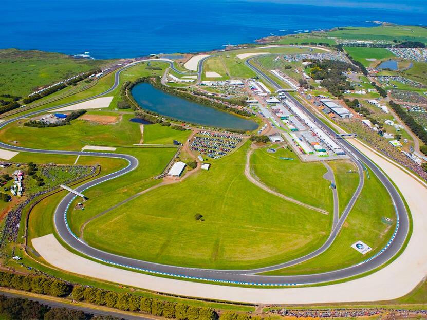 Aerial view of Phillip Island Circuit near Silverwater Resort