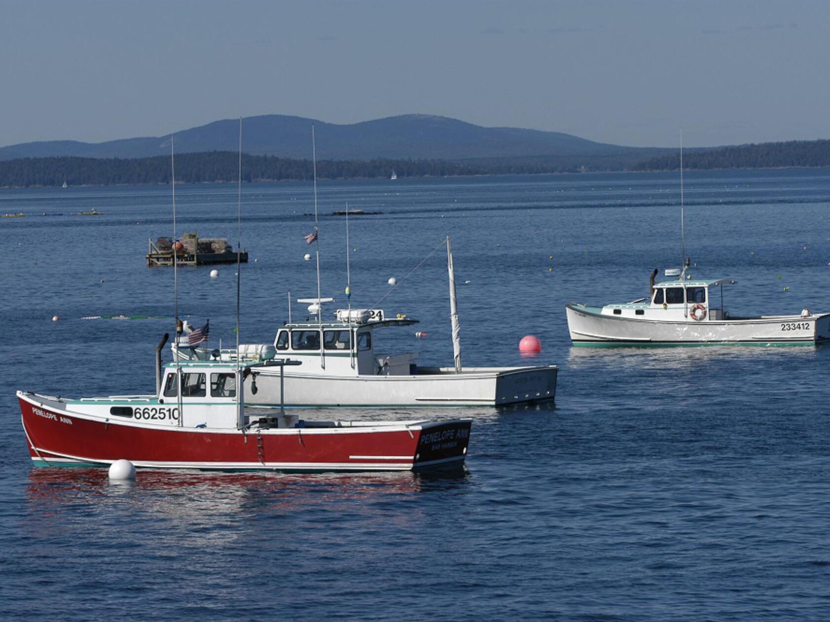 fishing boats in ocean