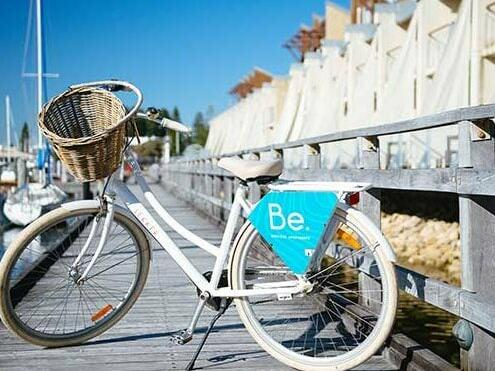 Be bicycles at the pier near Be Fremantle