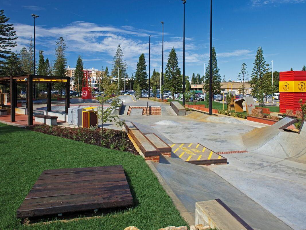 Skateboarding area at Esplanade Youth Plaza near Be Fremantle