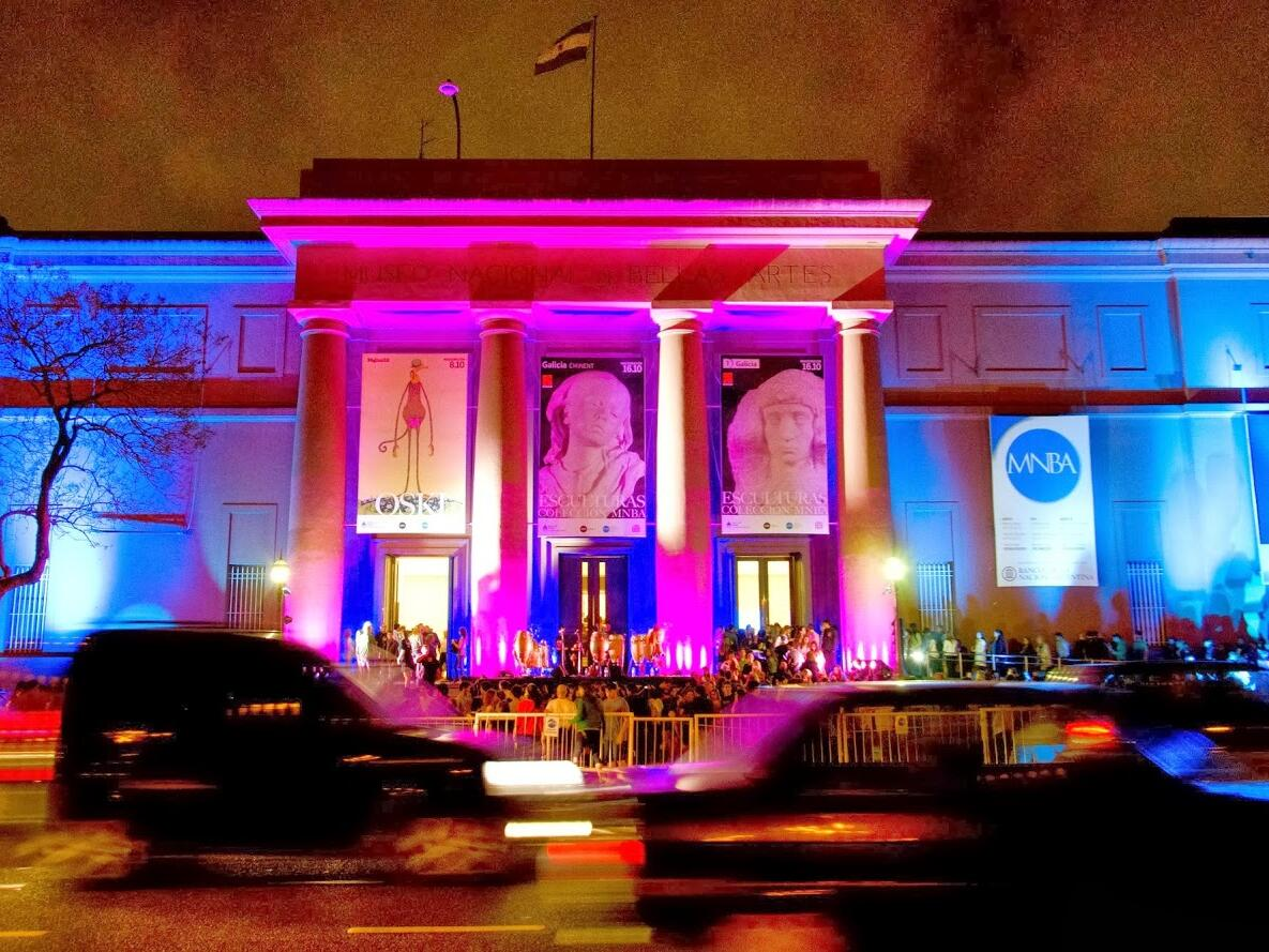 Exterior view of National Museum of Fine Arts at night near Hotel Emperador Buenos Aires