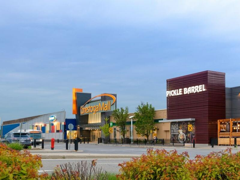 A front view of the conestoga mall near The Inn of Waterloo