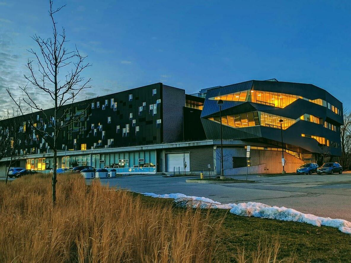 front view of the Perimeter Institute near The Inn of Waterloo