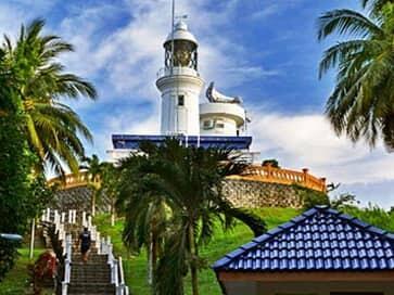 rachado lighthouse at tanjung tuan beach, port dickson