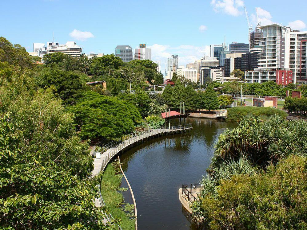 Aerial view of Roma Street Parkland near George Williams Hotel