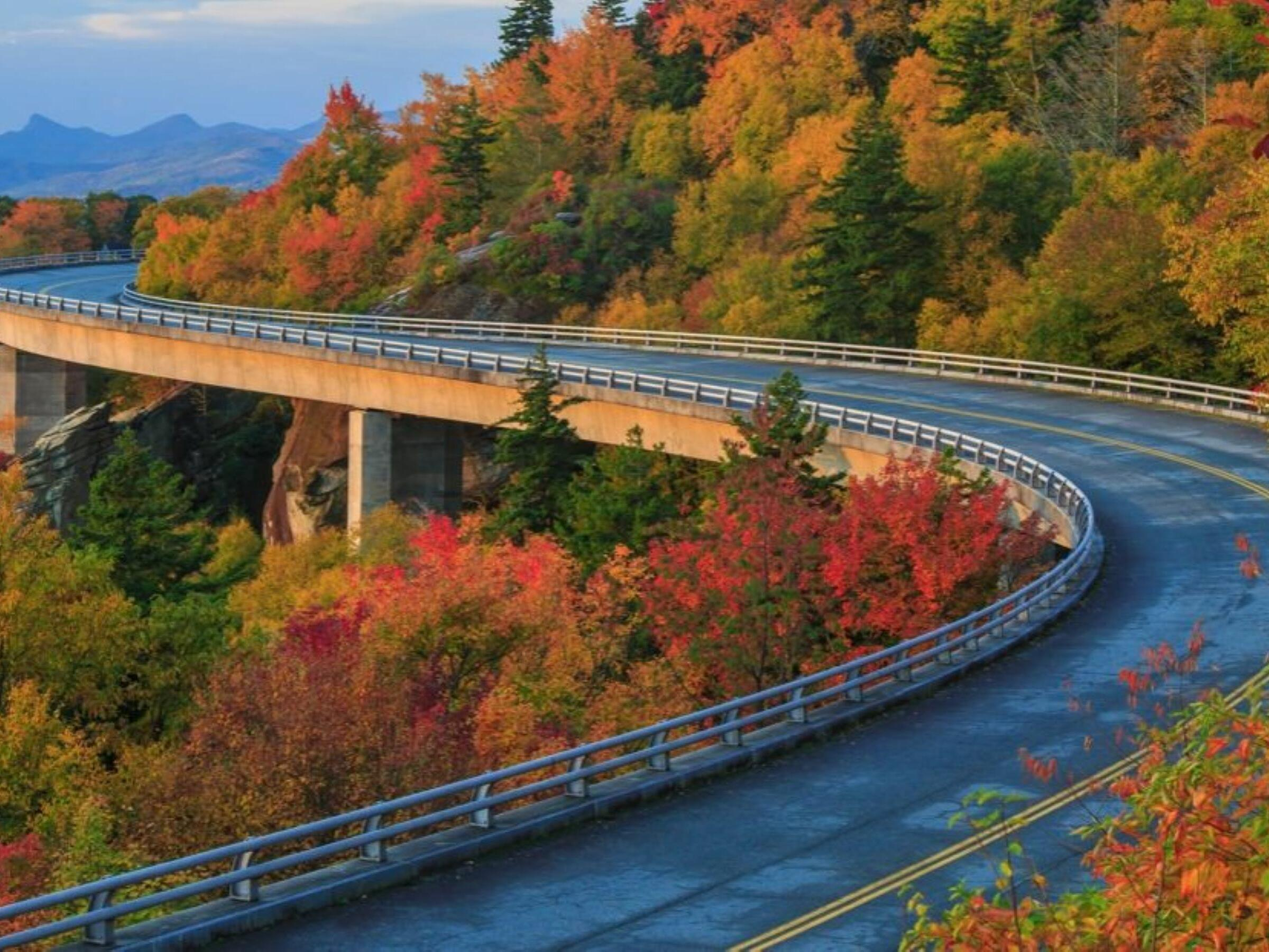 Blue Ridge Parkway by the forest near Mountain Inn & Suites