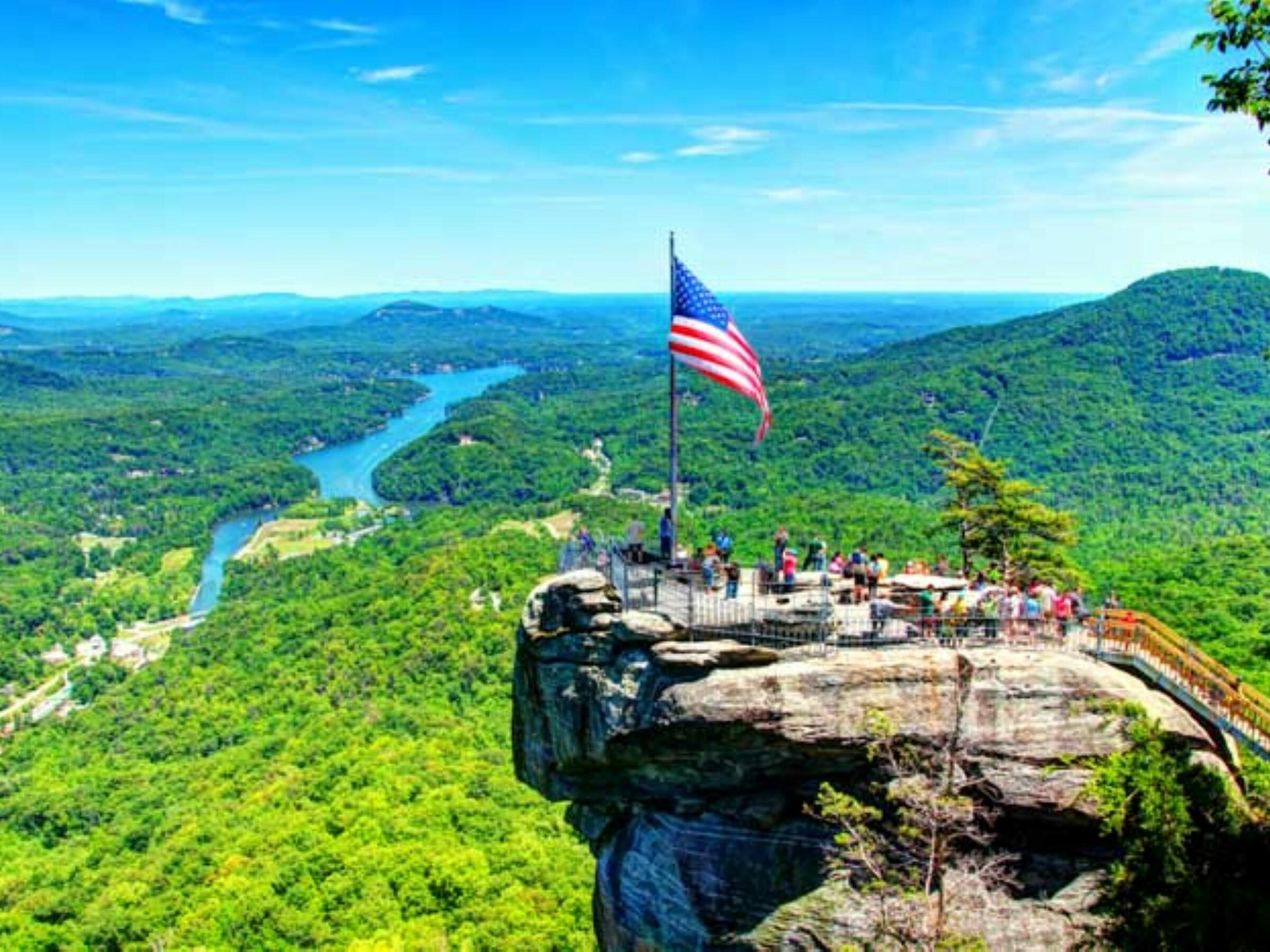 Aerial view of Chimney Rock State Park near Mountain Inn & Suites