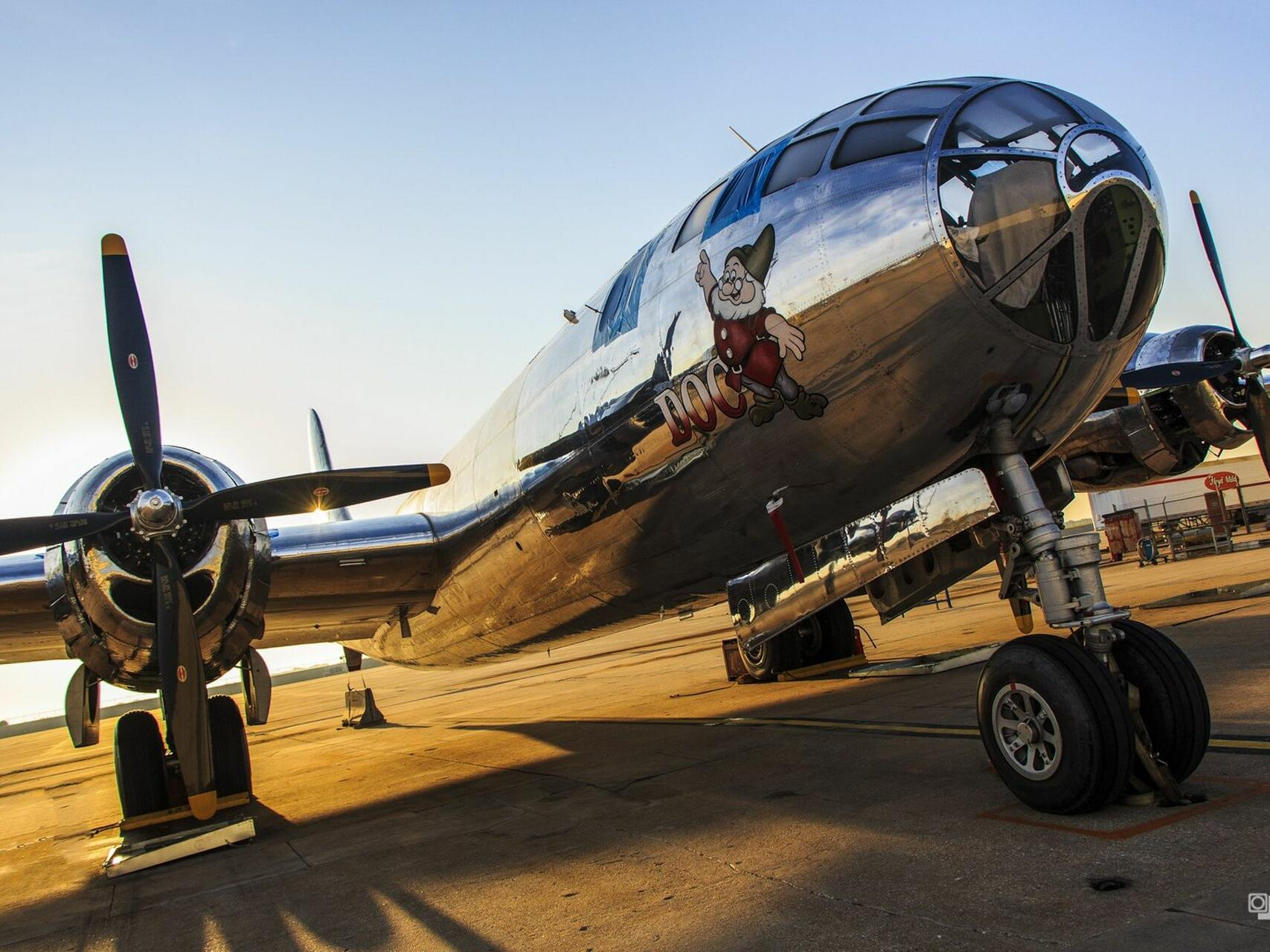 Close up on a plane at B-29 Doc hanger near Hotel at Old Town