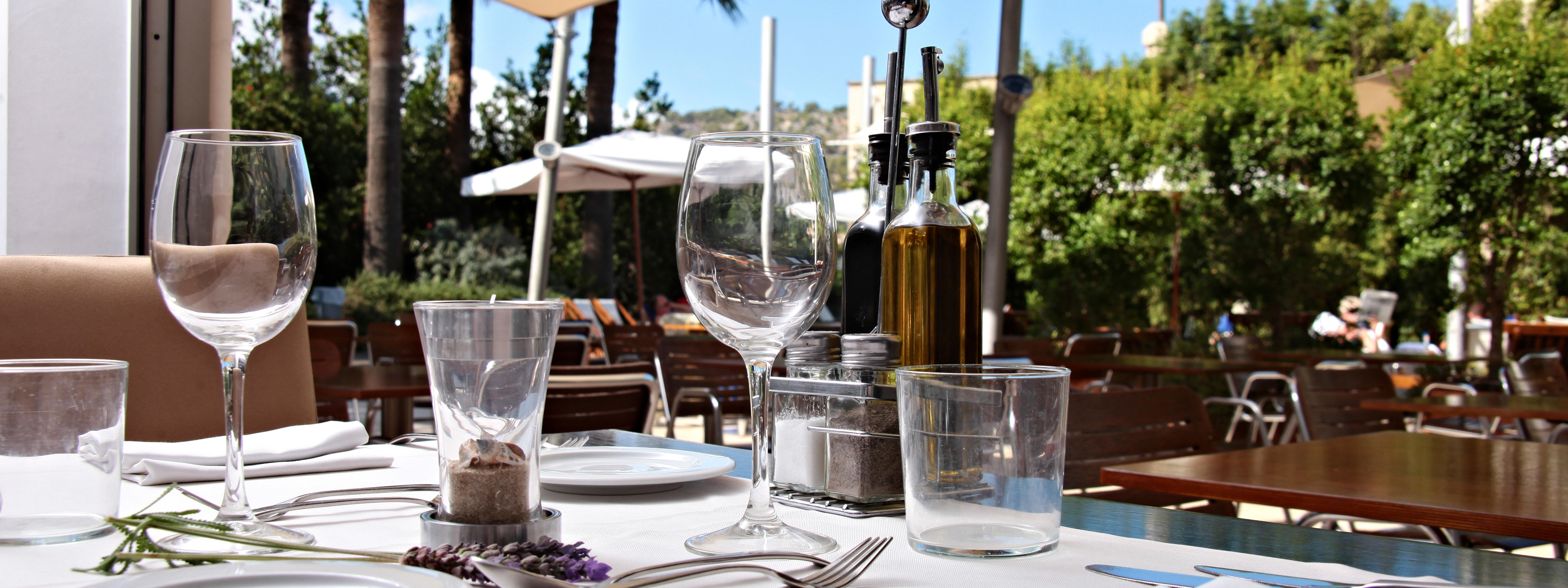 Restaurant at Aimia Hotel in Port de Sóller, Majorca