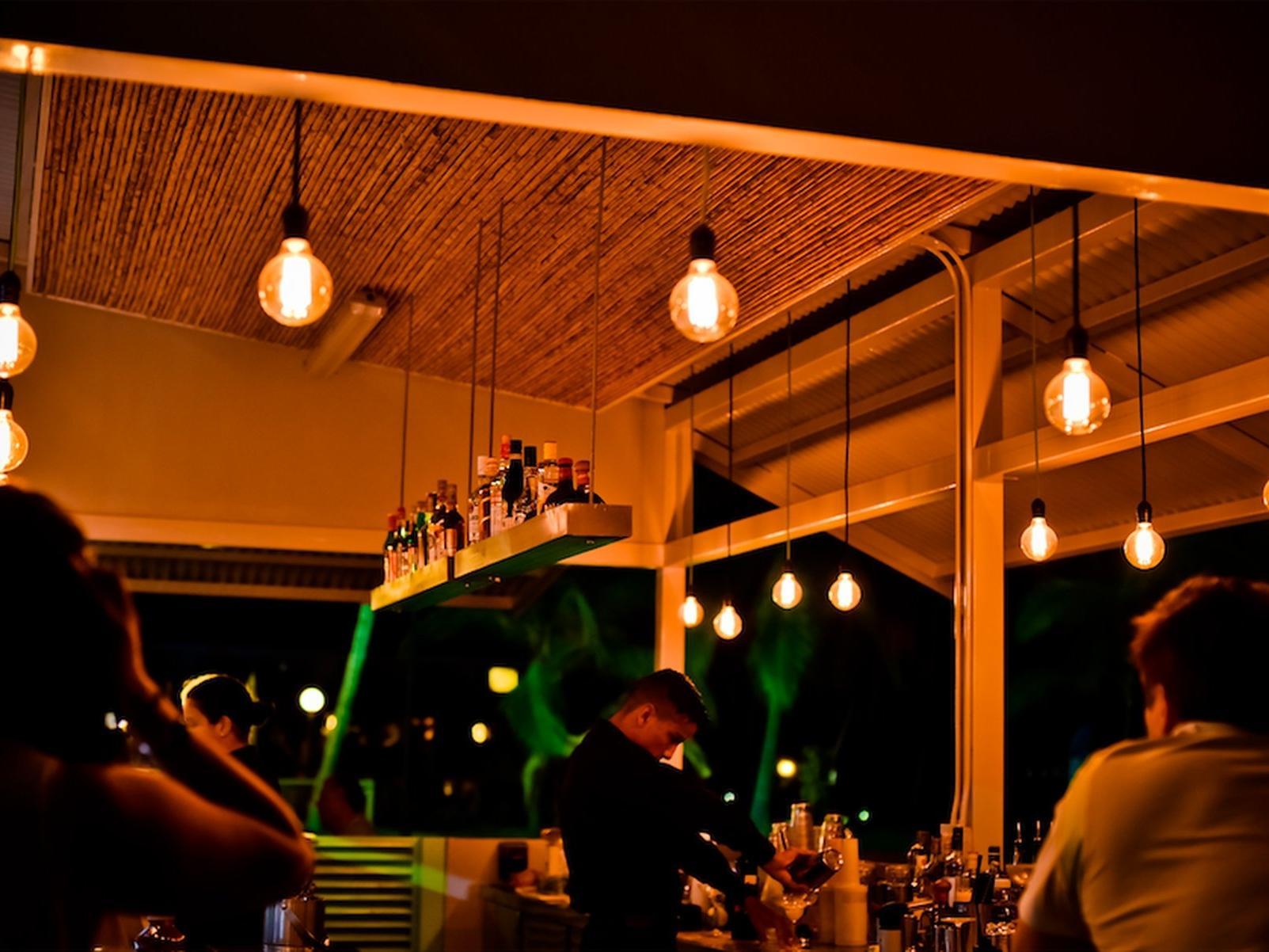 Enjoying dinner with yellow lights view at Fiesta Resort