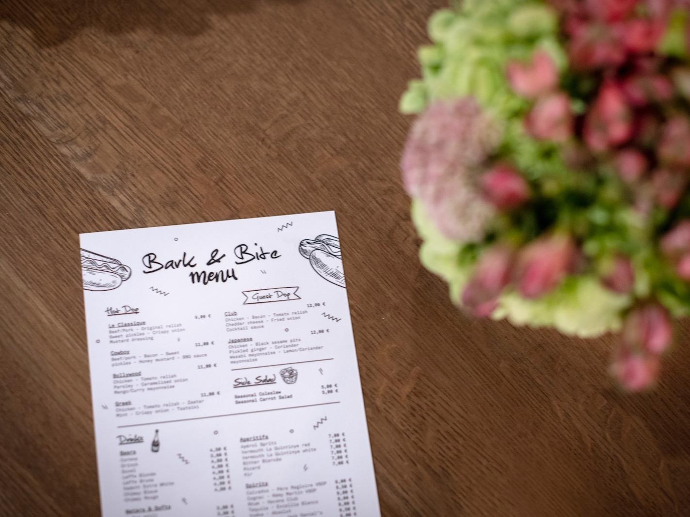 Street food menu at Hotel Hubert Brussels near Grand Place