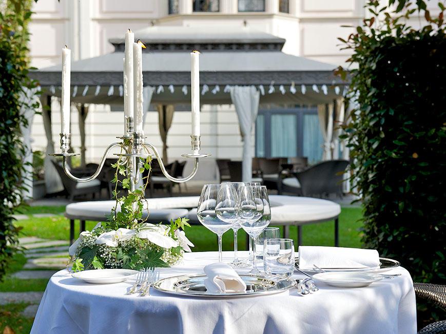 Garden at Grand Visconti Palace in Milan
