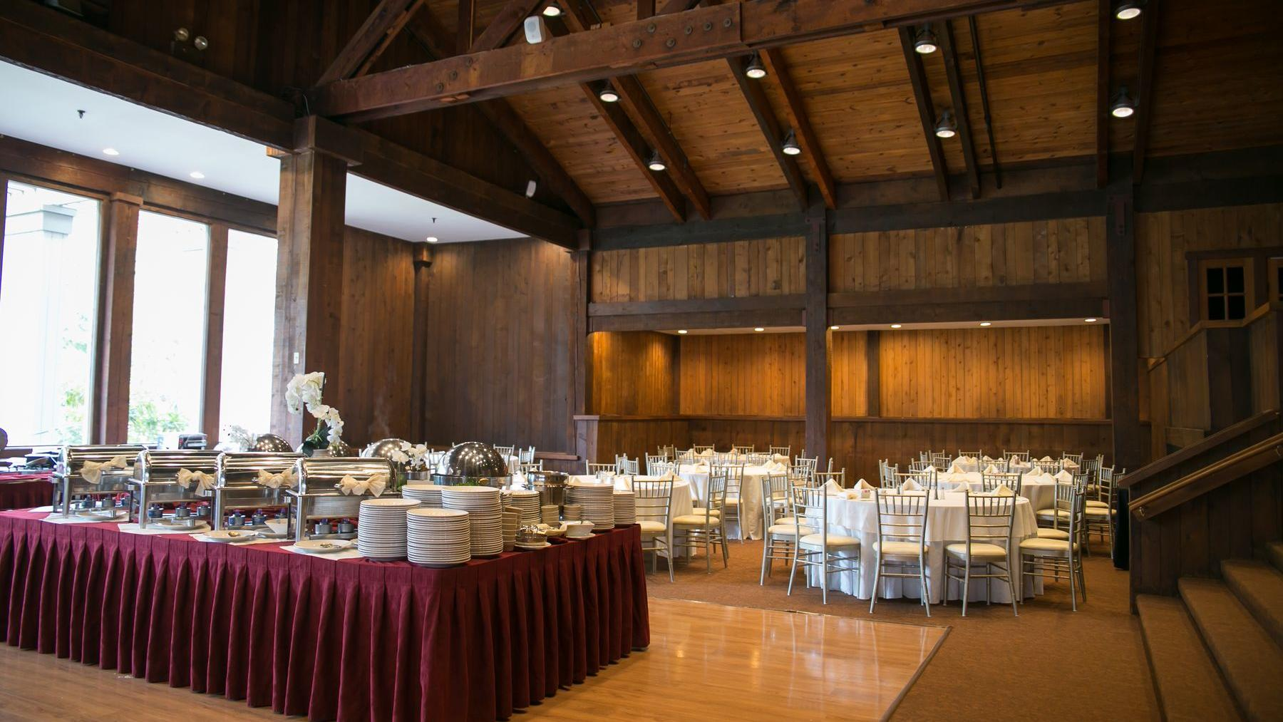 Large banquet room with catering