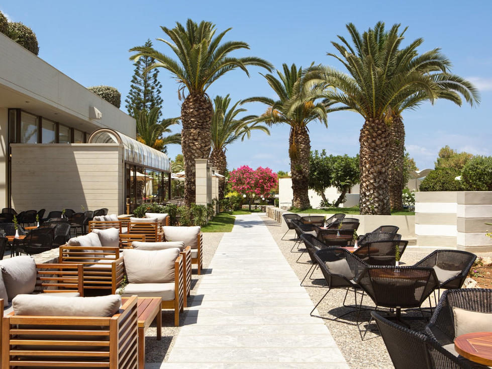 Lobby bar at Agapi Beach Resort in Crete, Greece