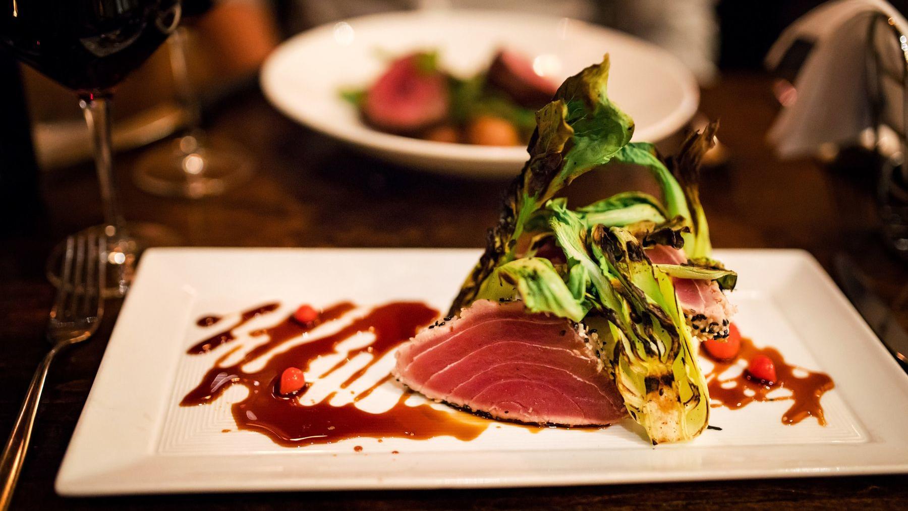 Platter of ahi tuna.