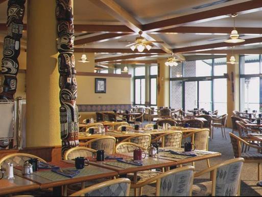 Indoor restaurant seating.