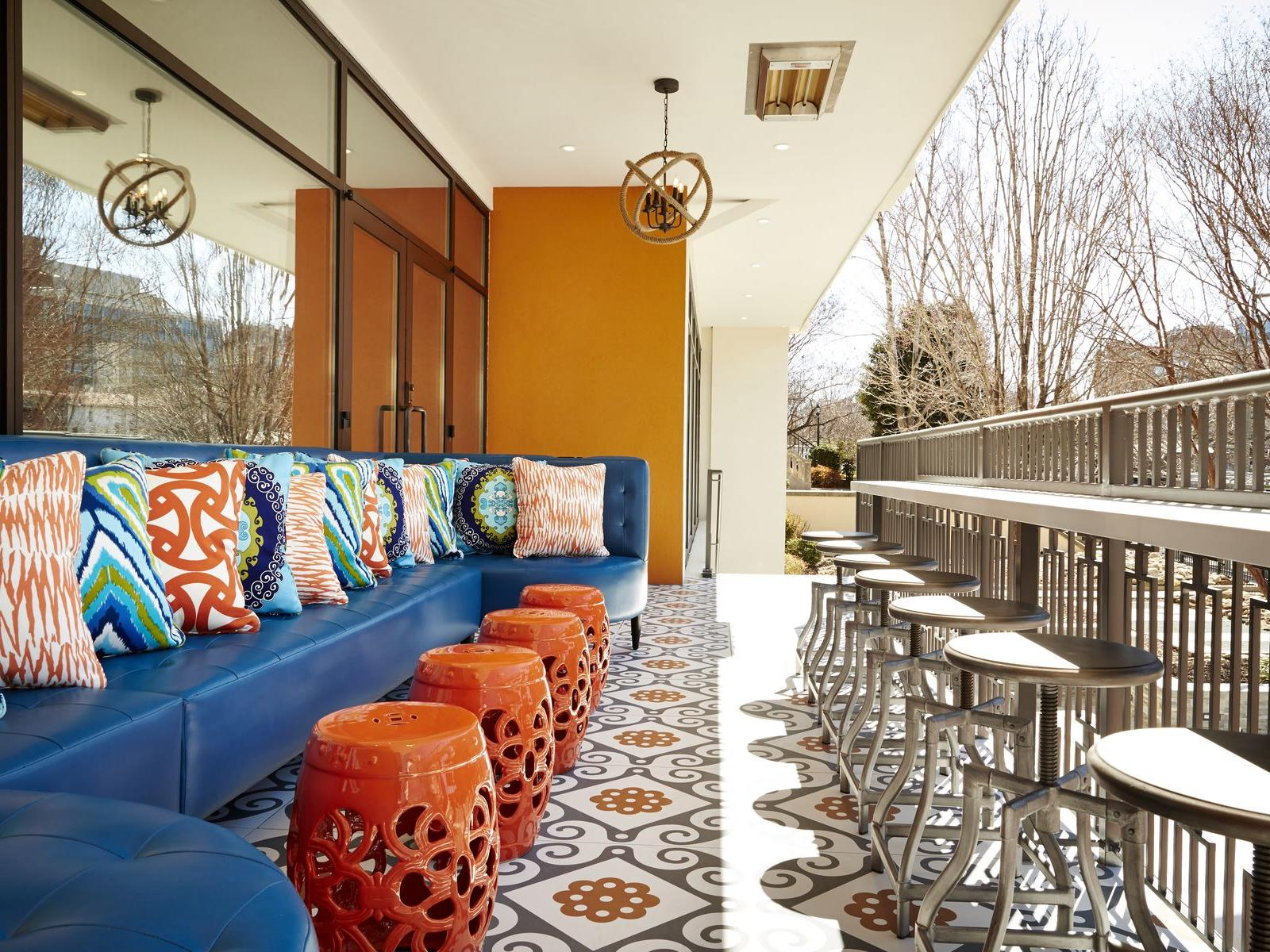 Outdoor seating at hotel restaurant