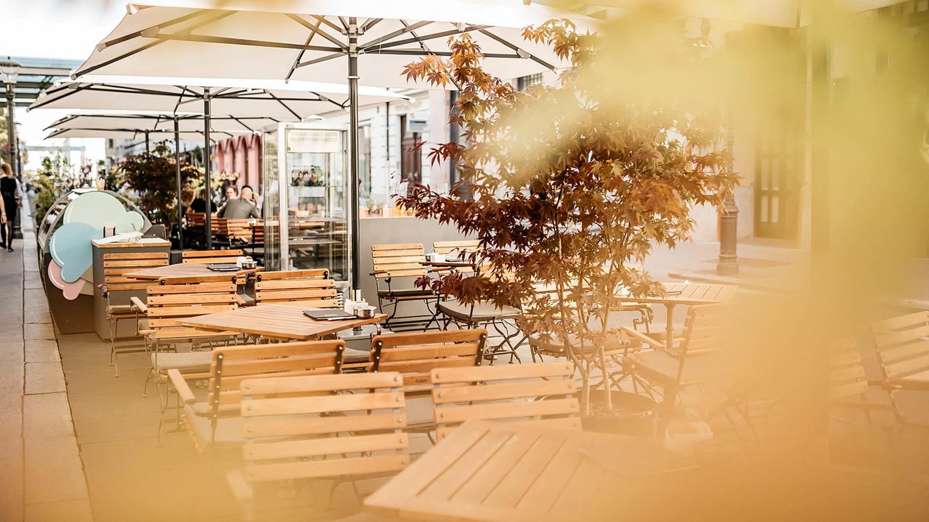 Union Cafe terrace at uHotel in Ljubljana