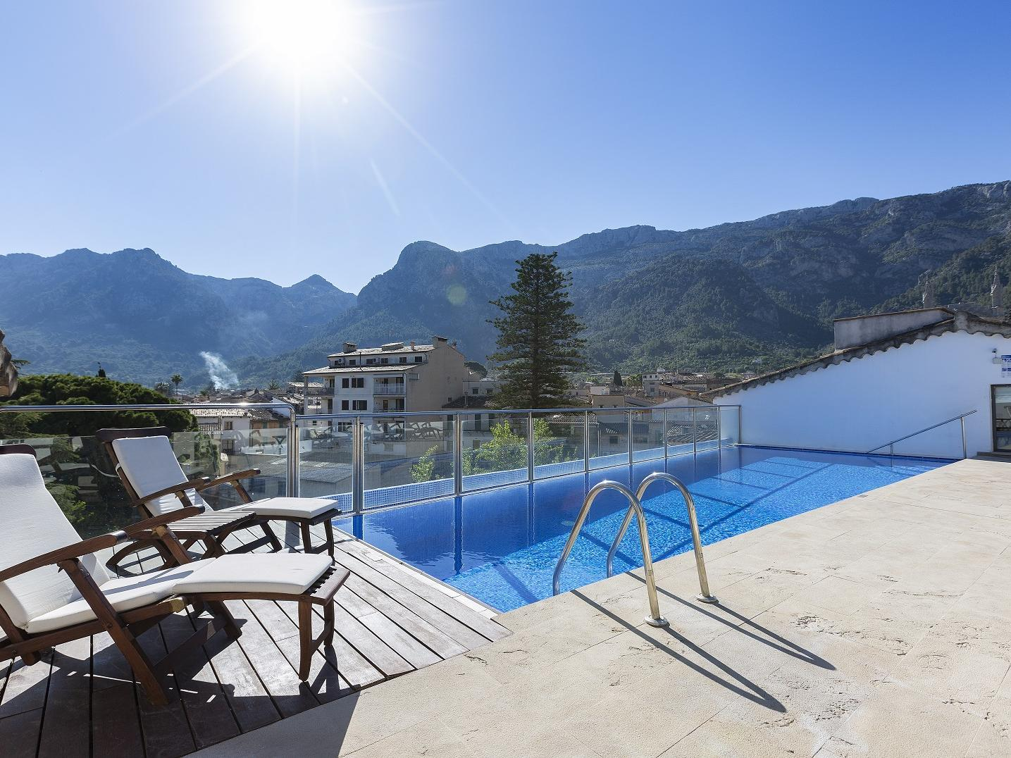 Rooftop pool at Gran Hotel Sóller in Sóller, Majorca