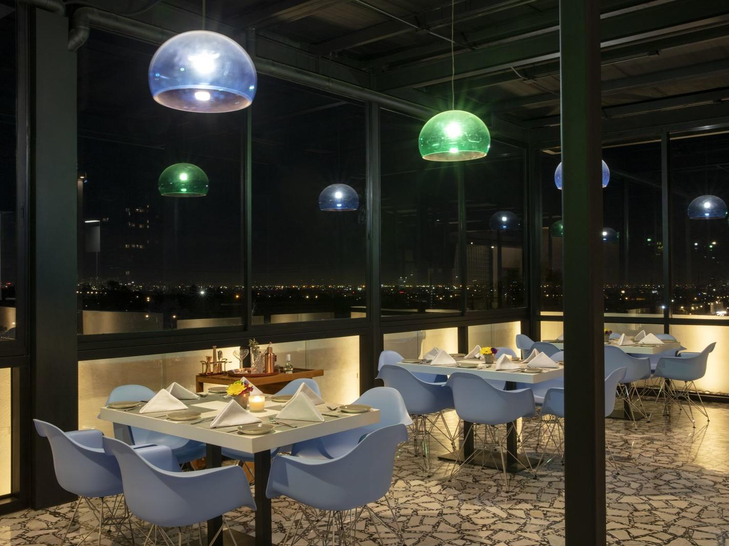 Modern tables and chairs at the roof garden restaurant