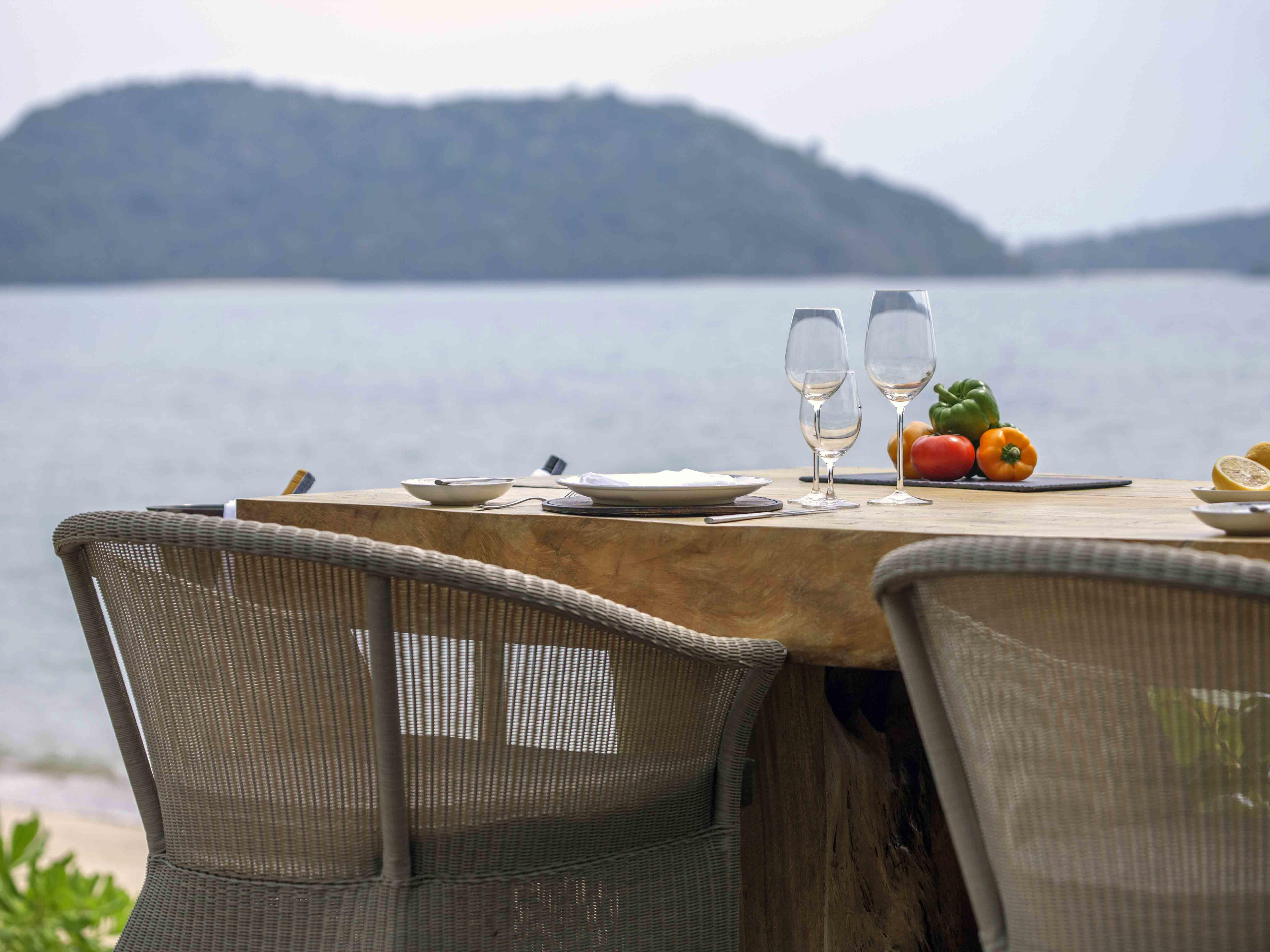 The beach table by the beach