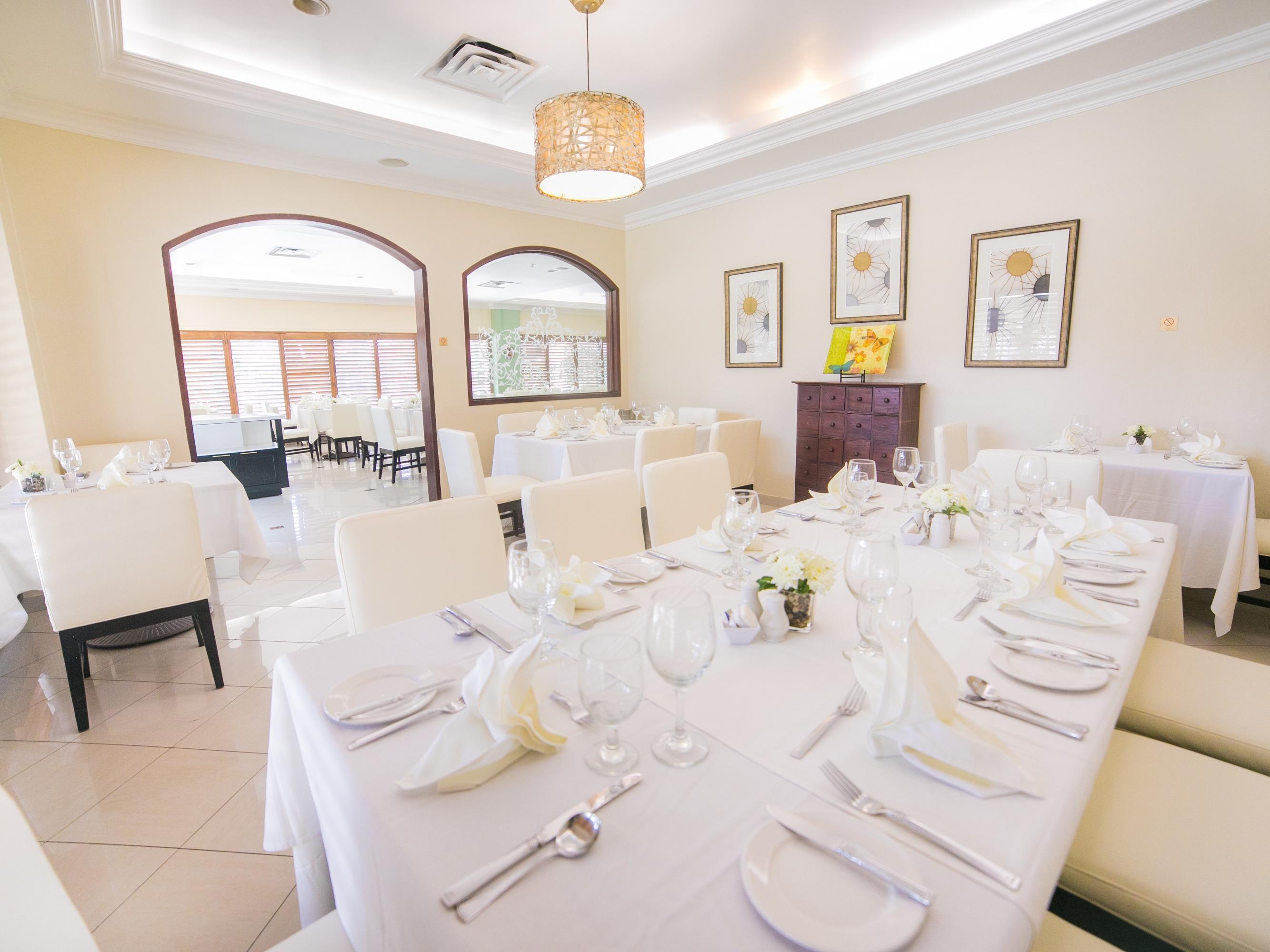 white linen dining