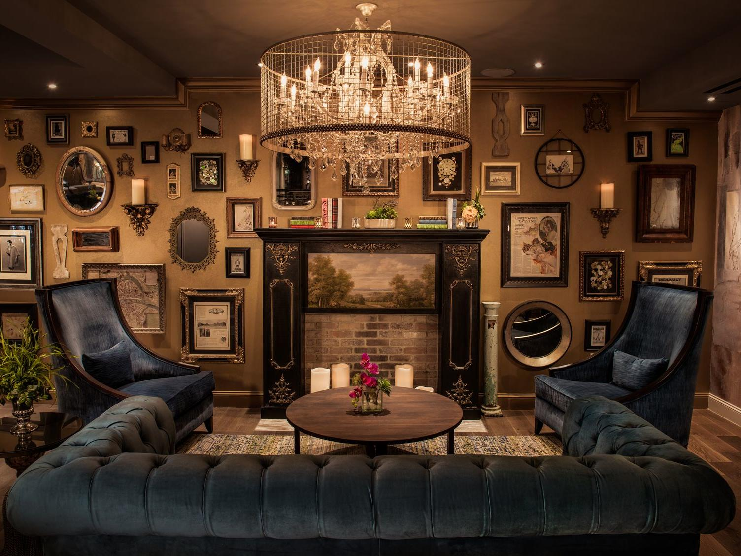 antique lounge area with block couches and wall art