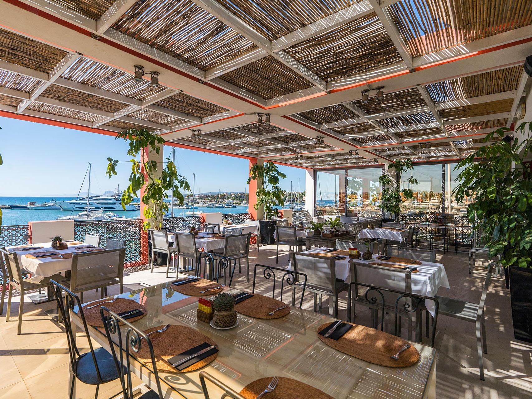 El Maritimo terrace restaurant at Hotel Club Maritimo de Sotogrande, Cádiz, Spain