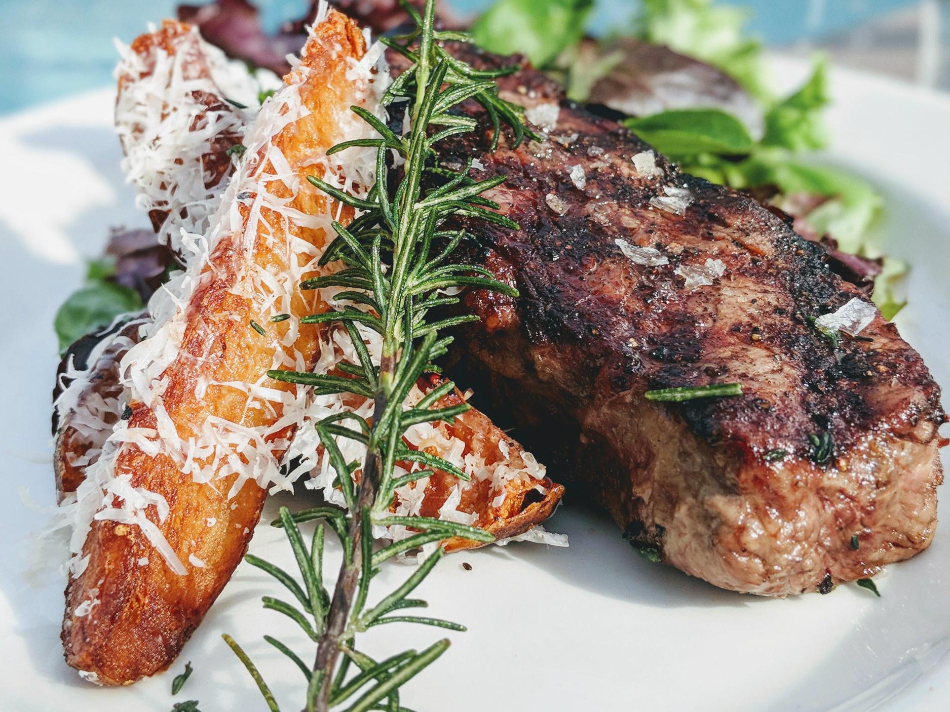 fancy meat dinner plate
