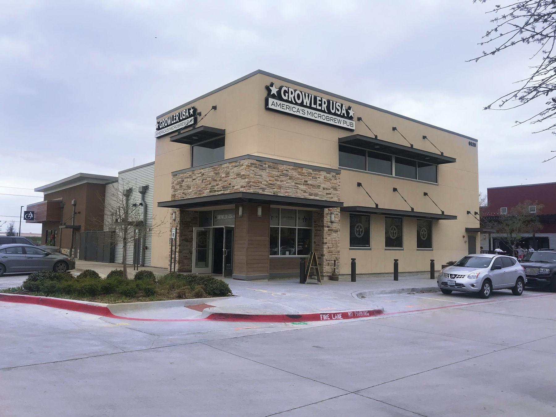 exterior of the growler usa with parking