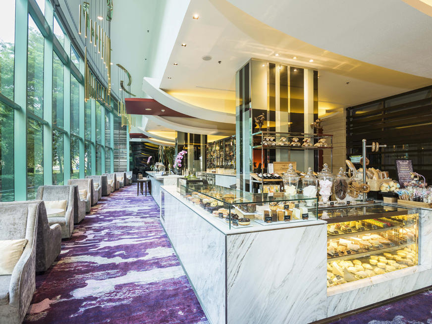 Freshly baked goodies and delicious selection of drinks of Treats Gourmet at Chatrium Hotel Riverside Bangkok