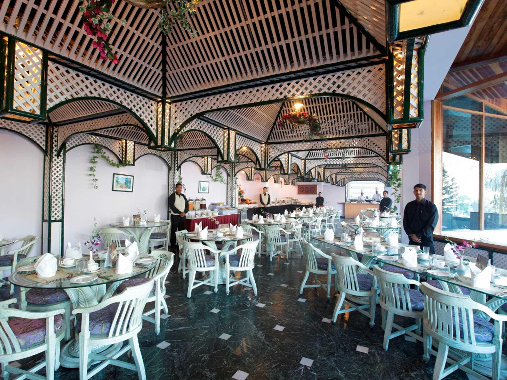 Cafe Jardin at ManuAllaya Resort Spa Manali in Himachal Pradesh, India