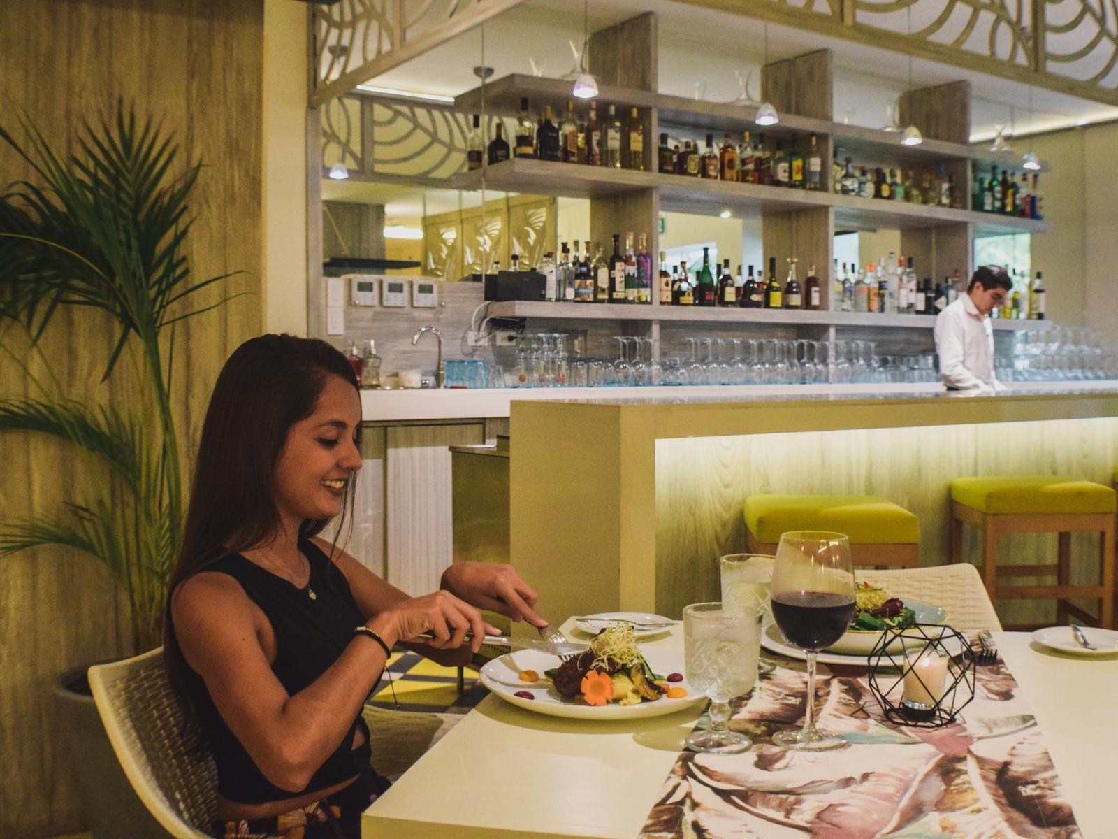 Woman having dinner