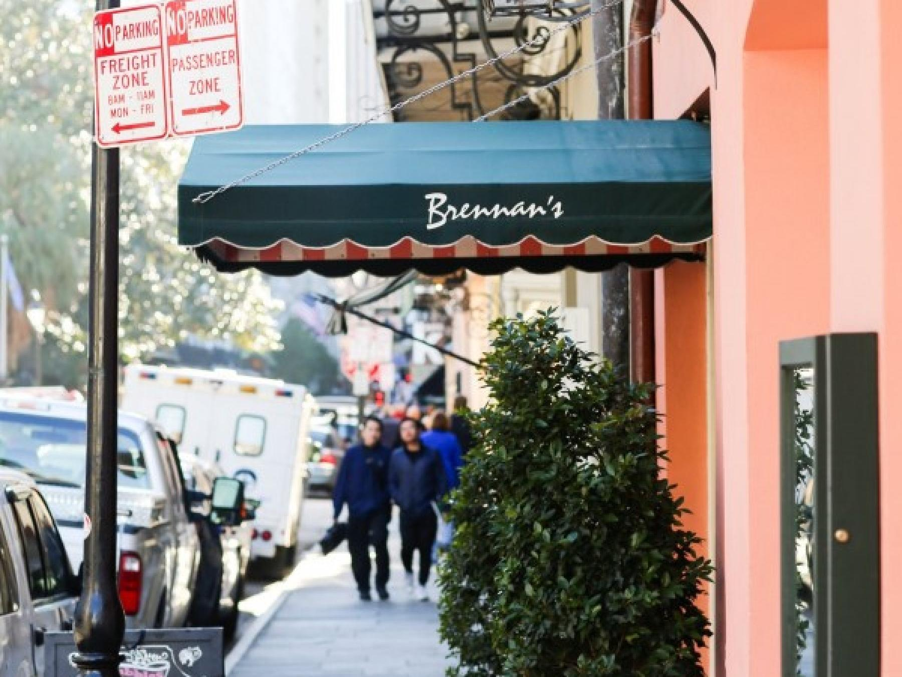 Exterior view of Brennan's entrance near Andrew Jackson Hotel