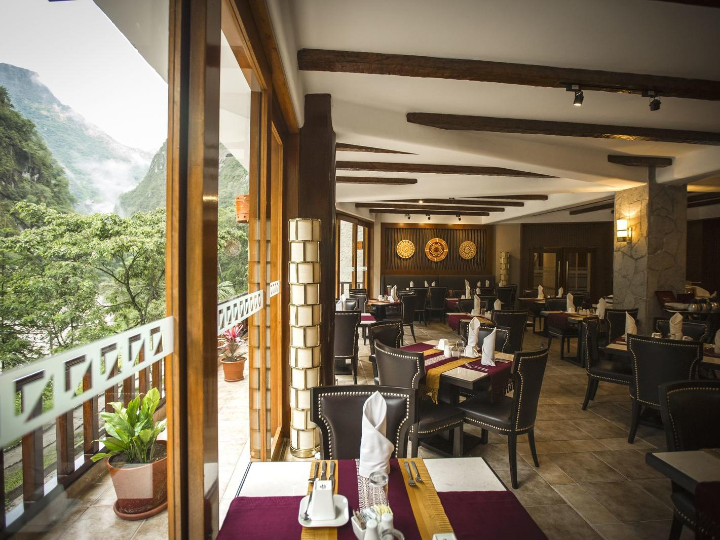 Dining area with the viewin Qunuq Restaurant at Hotel Sumaq