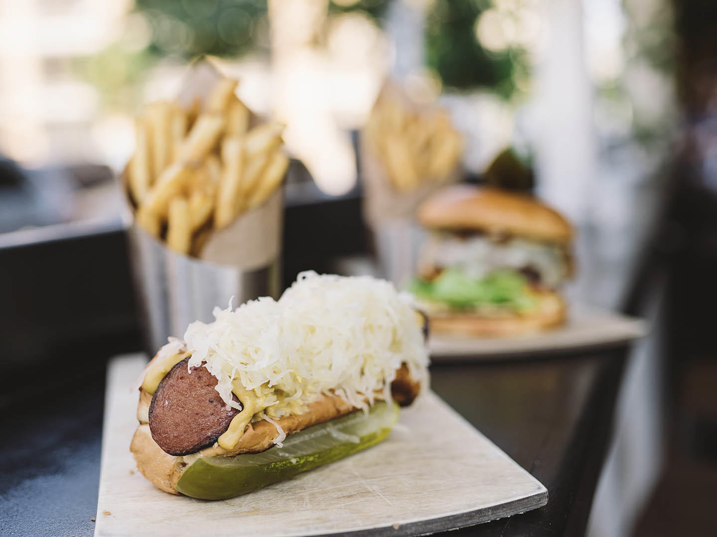 Hot dog with sauerkraut and toppings