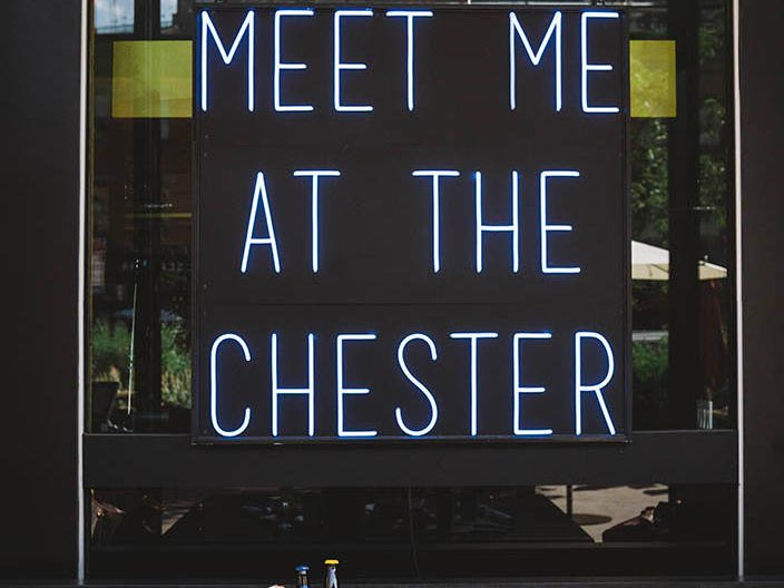 Meet Me at The Chester neon sign