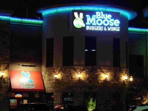 outside of the Blue Moose Burgers & Wings restaurant