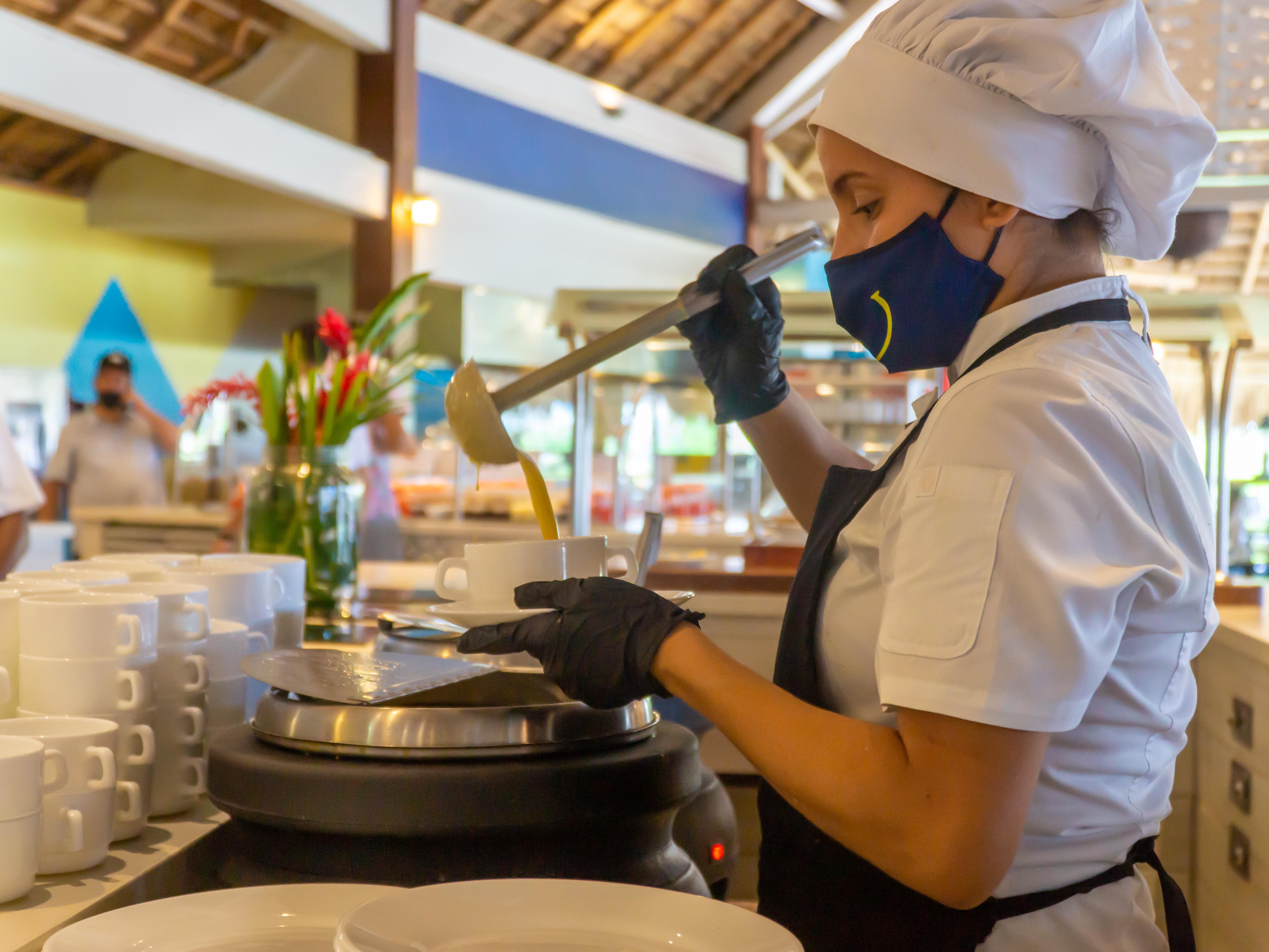 Indoor dining and variety foods at fiesta Resort