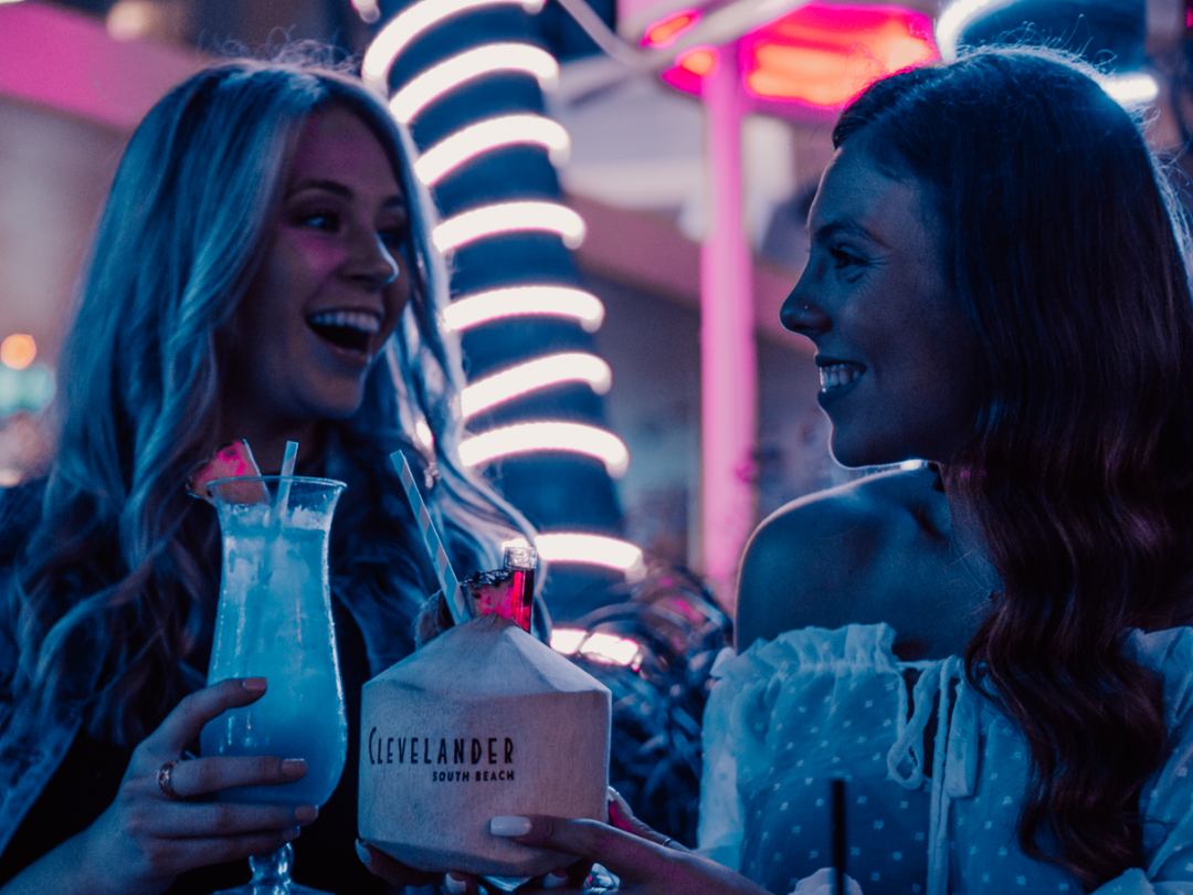 Girls having iced cocktails at Clevelander South Beach