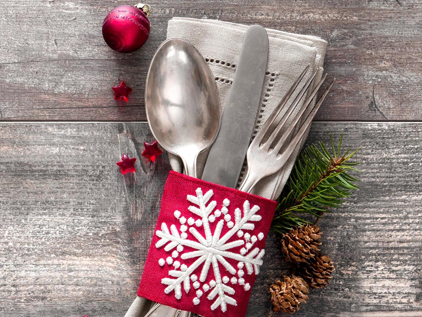 Spoon, Knife and Fork with holiday decorations