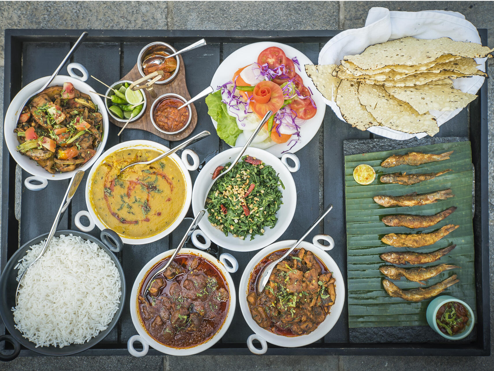 Tasty lunch table at Meghauli Serai