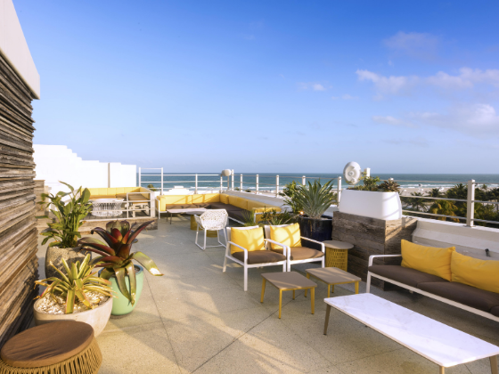 Rooftop lounge with beach view at at Clevelander South Beach