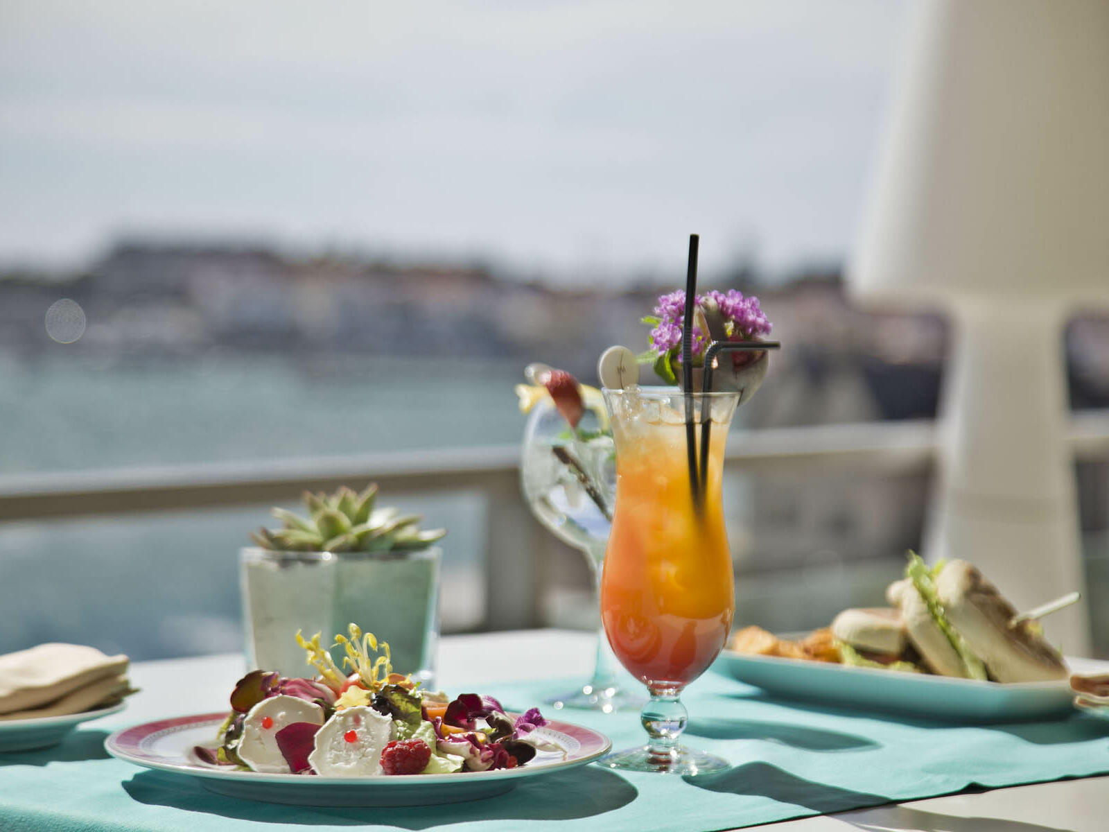 Out door Breakfast with glass of juice at Hotel Cascais Miragem